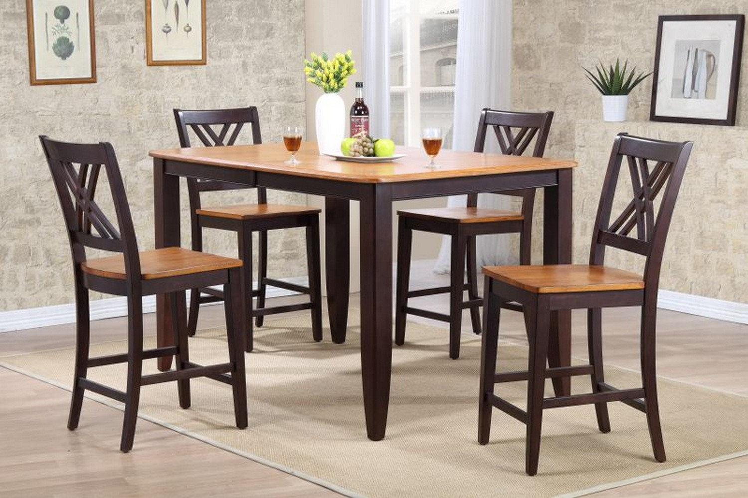 Iconic Furniture RT67 Whiskey/Mocha Double X- Back Counter Height Dining Set