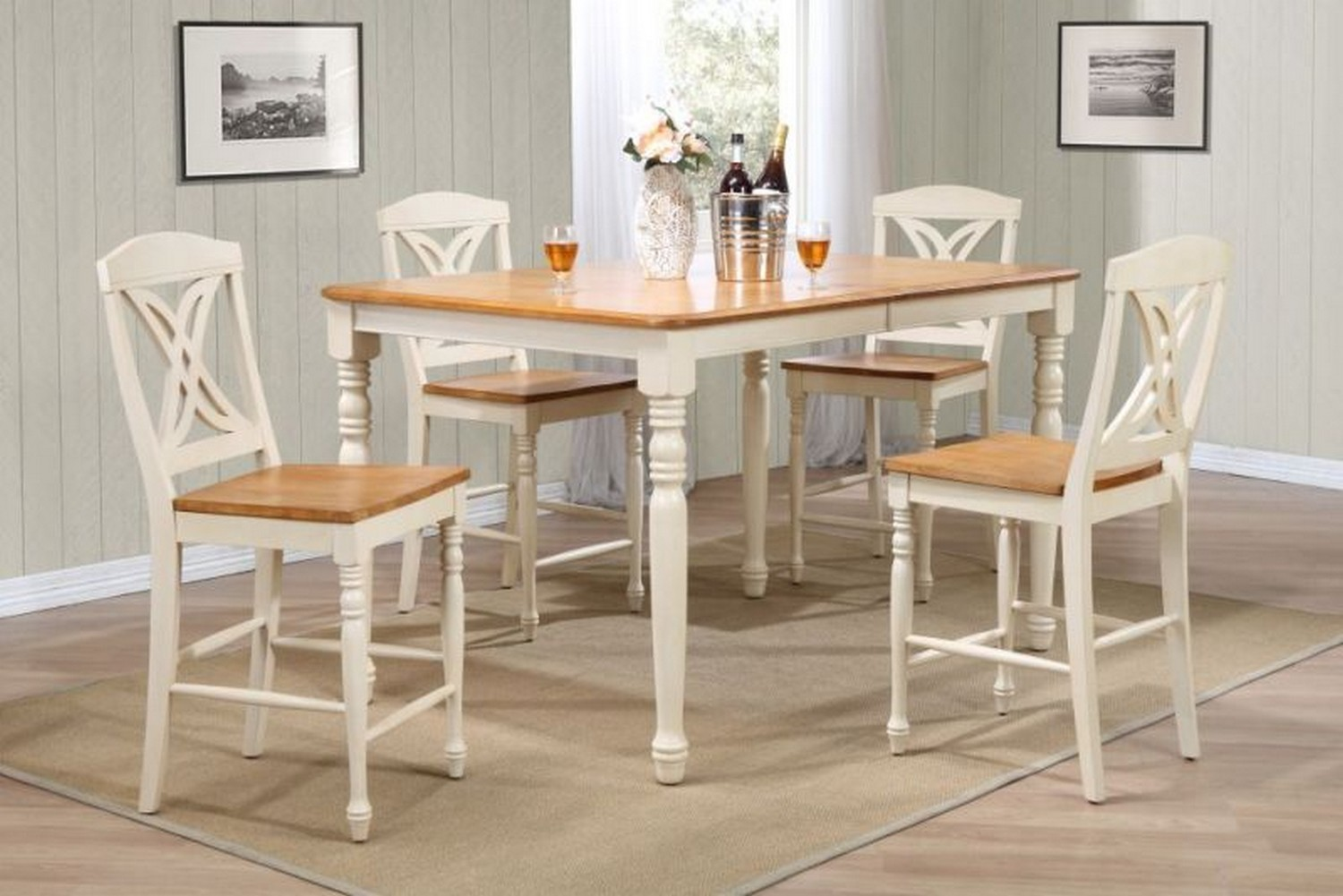 Iconic Furniture RT67 Caramel/Biscotti Butterfly Back Counter Height Dining Set
