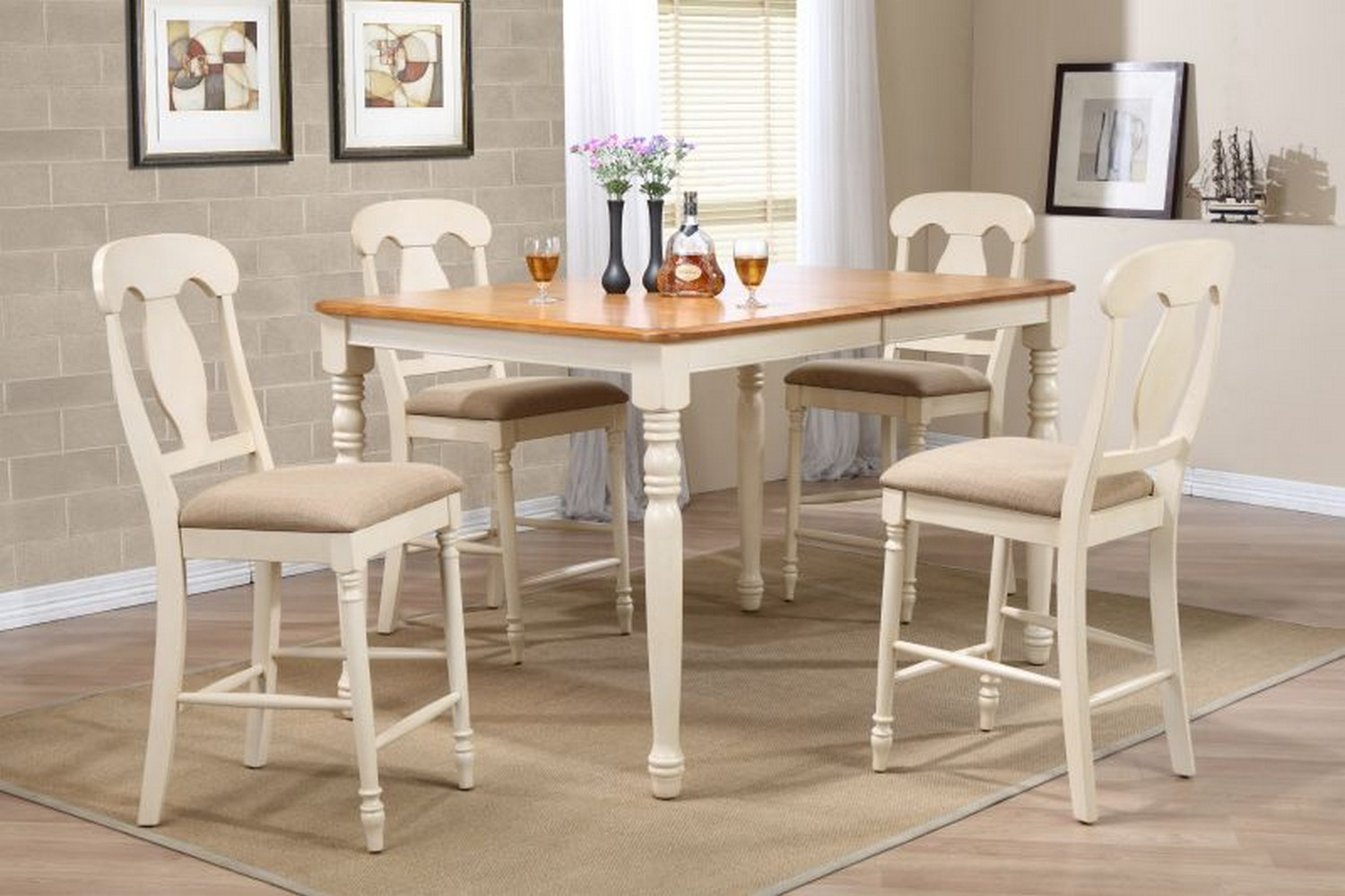 Iconic Furniture RT67 Caramel/Biscotti Napoleon Back Counter Height Dining Set