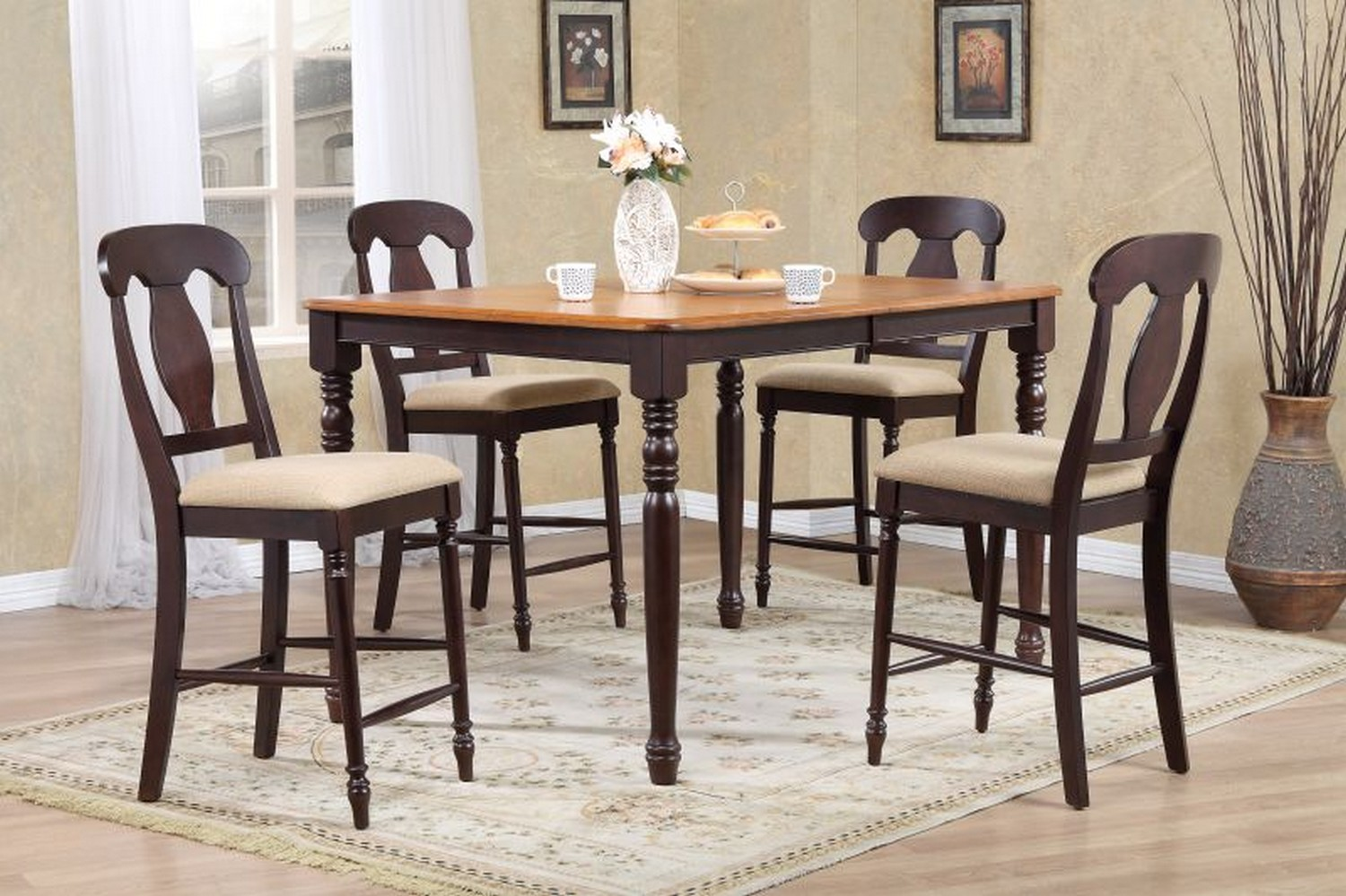 Iconic Furniture RT67 Whiskey/Mocha Napoleon Back Counter Height Dining Set