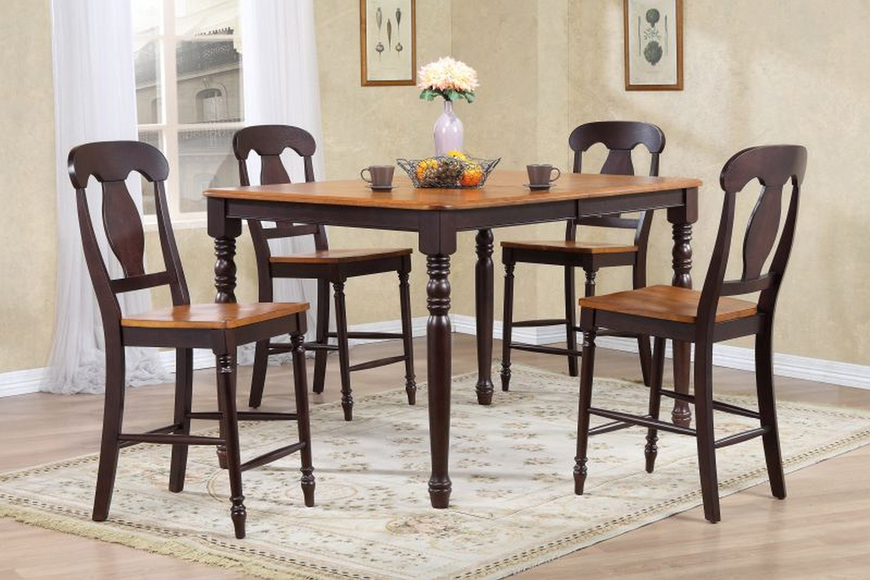 Iconic Furniture RT67 Whiskey/Mocha Napoleon Back Counter Height Dining Set