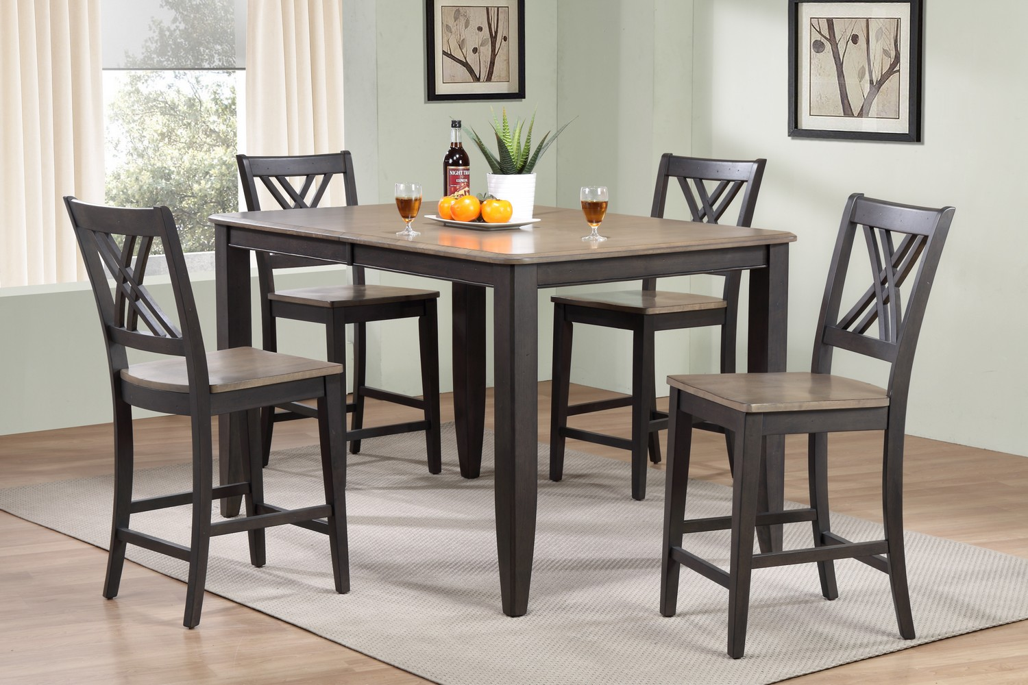 Iconic Furniture RT78 Grey Stone/Black Stone Double X- Back Counter Height Dining Set