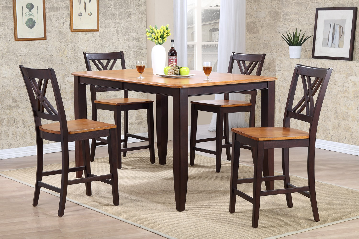 Iconic Furniture RT78 Whiskey/Mocha Double X- Back Counter Height Dining Set