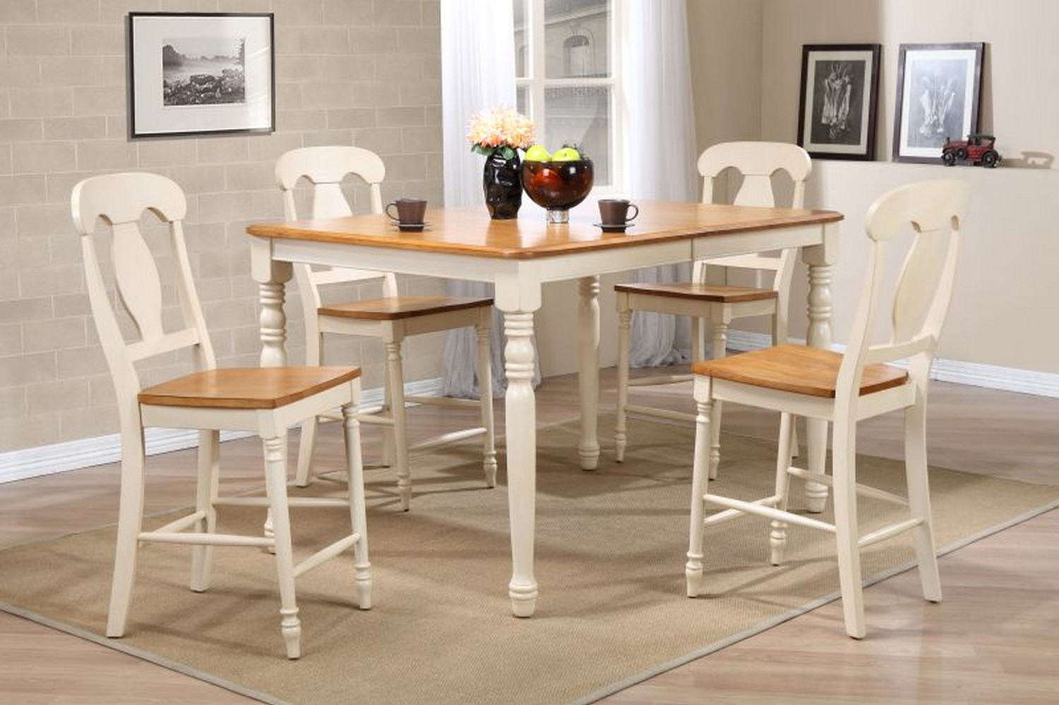 Iconic Furniture RT78 Caramel/Biscotti Napoleon Back Counter Height Dining Set