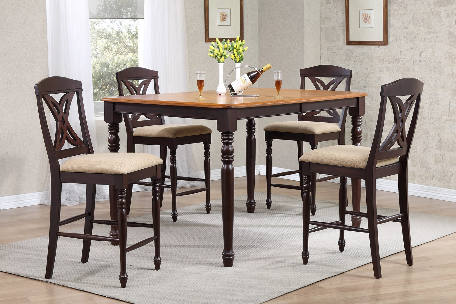 Iconic Furniture RT78 Whiskey/Mocha Butterfly Back Counter Height Dining Set