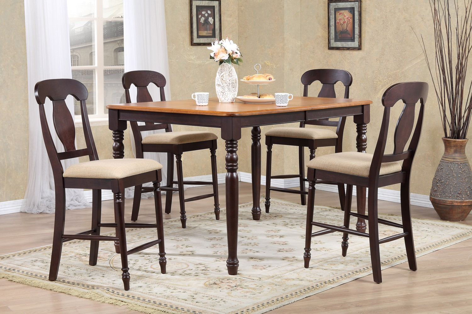 Iconic Furniture RT78 Whiskey/Mocha Napoleon Back Counter Height Dining Set
