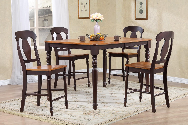 Iconic Furniture RT78 Whiskey/Mocha Napoleon Back Counter Height Dining Set