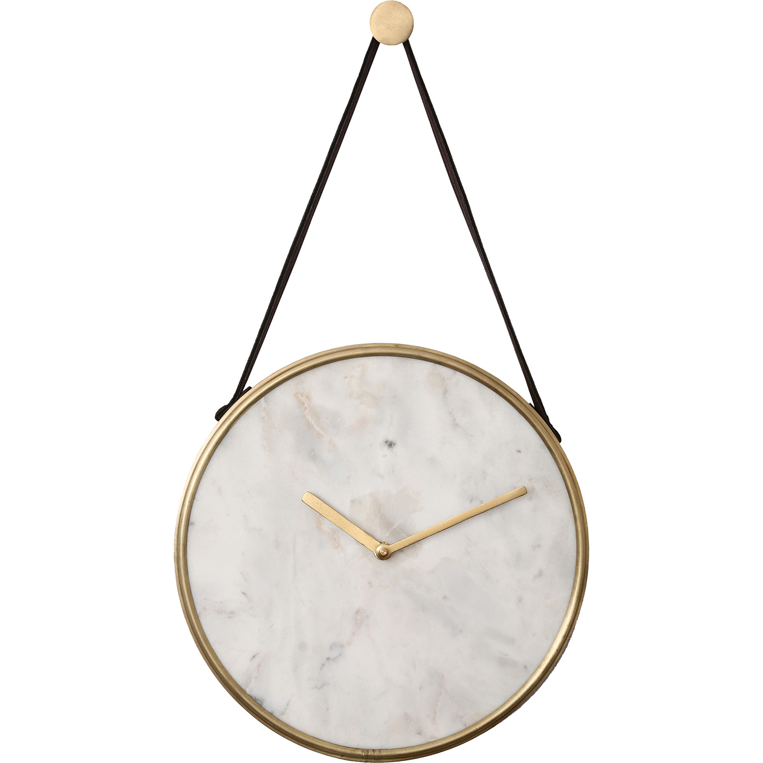 Ren-Wil Livenna Wall Clock - White Marble/Antique Brass/Tan Leather