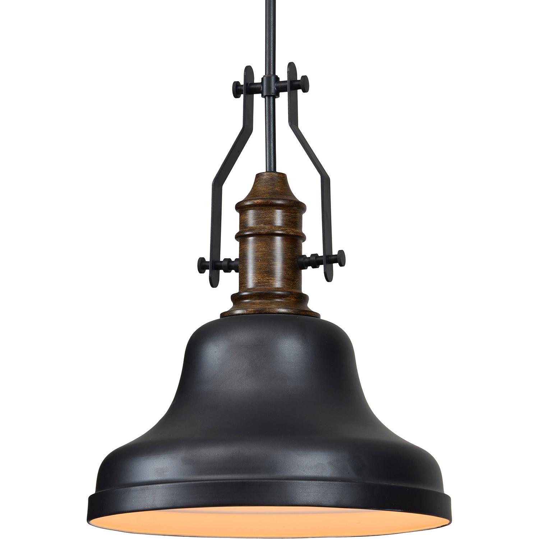 Ren-Wil Shelmon Ceiling Fixture - Matte Black/Rustic Wood Finish