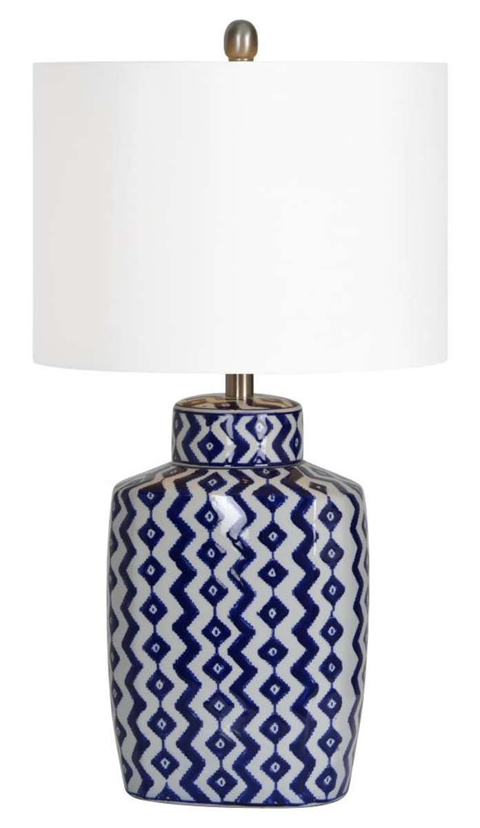 Ren-Wil Beryl Table Lamp - Blue/White shevron pattern