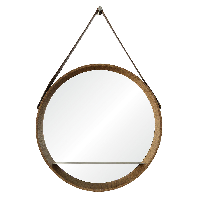 Ren-Wil Lenola Oval Mirror - Walnut Veneer/Nickel