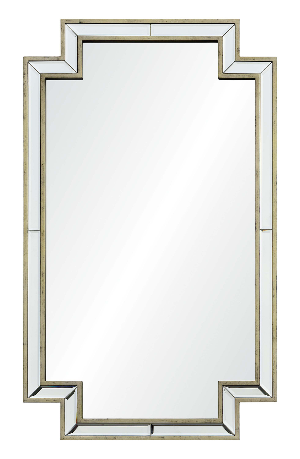 Ren-Wil Raton Rectangular Mirror - Antique Champagne Silver