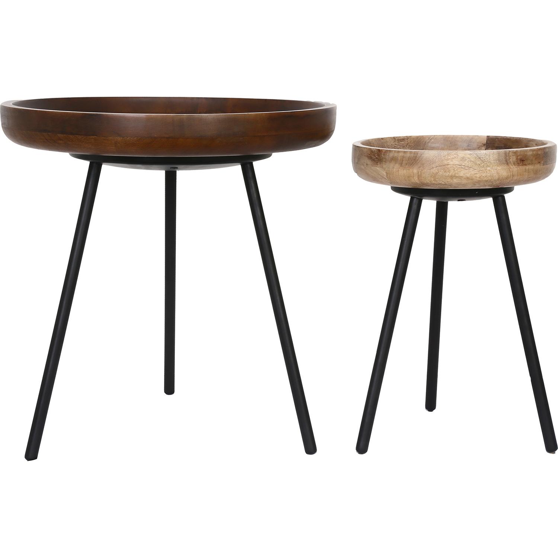 Ren-Wil Brett Accent Table - Walnut Brown Antique/Natural Wood/Black Powder Coated Leg