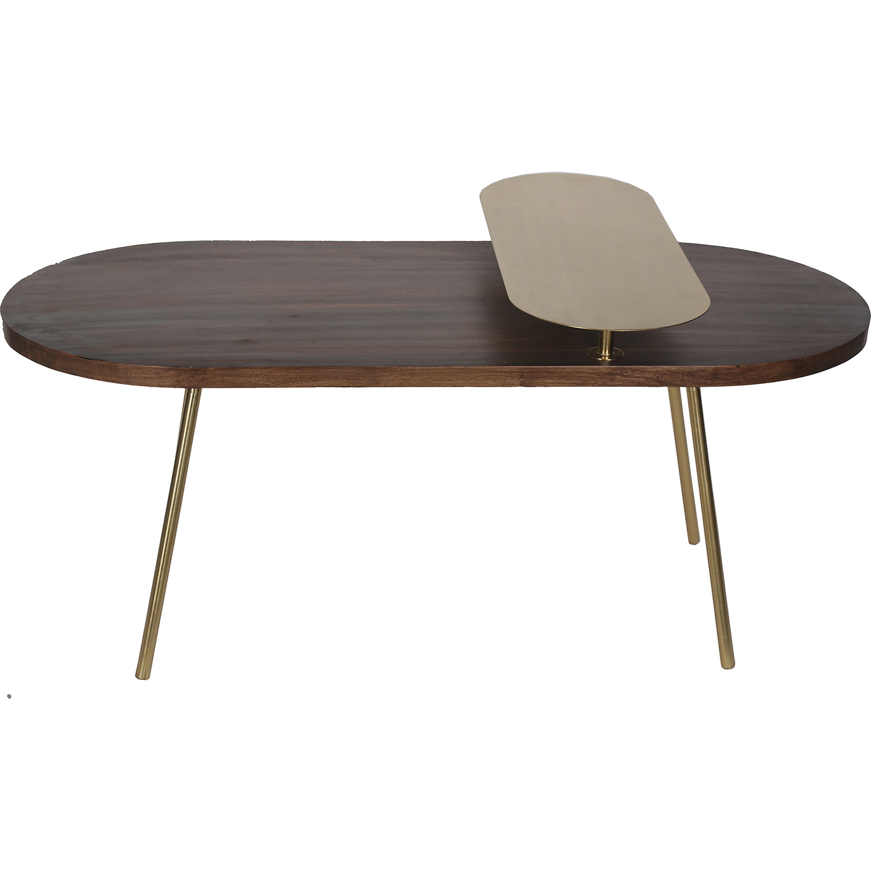Ren-Wil Zana Accent Table - Gold Leg/Dark Wood Top