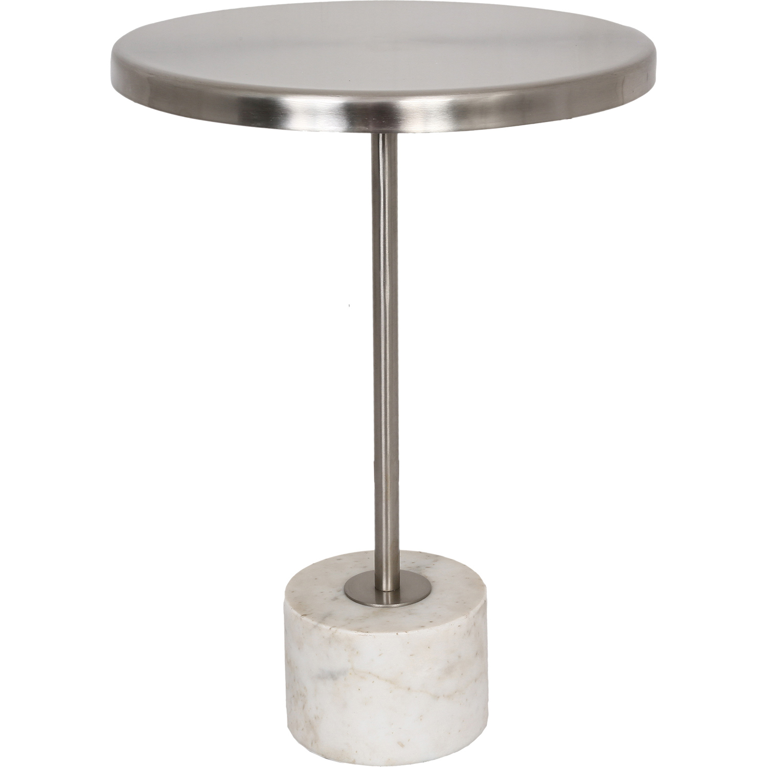 Ren-Wil Birley Accent Table - Pewter Top/White Marble Base