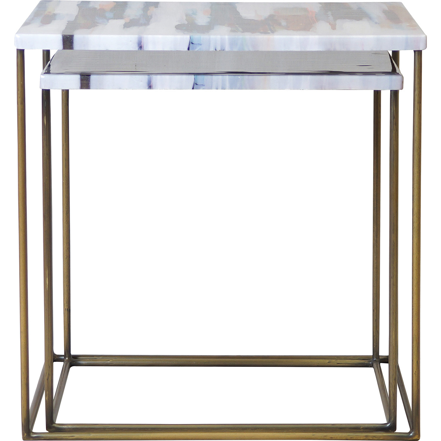 Ren-Wil Philo Accent Table - Brass Antique/Decal Top