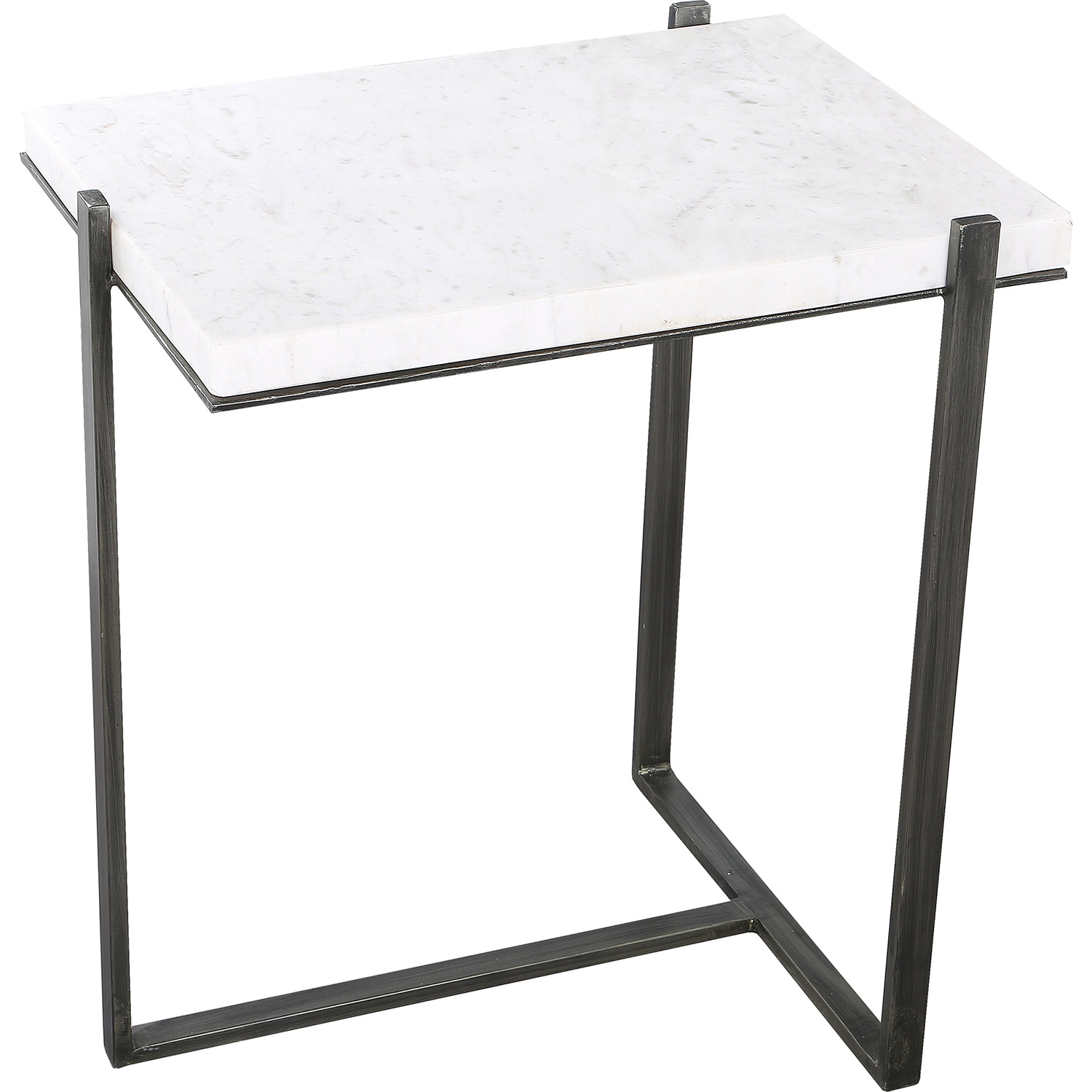Ren-Wil Hyder Outdoor Accent Table - White Marble/Brush Gray