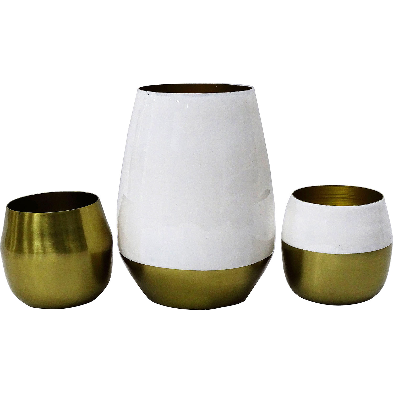Ren-Wil Lev Vase - EP Gold With Cream Enamel