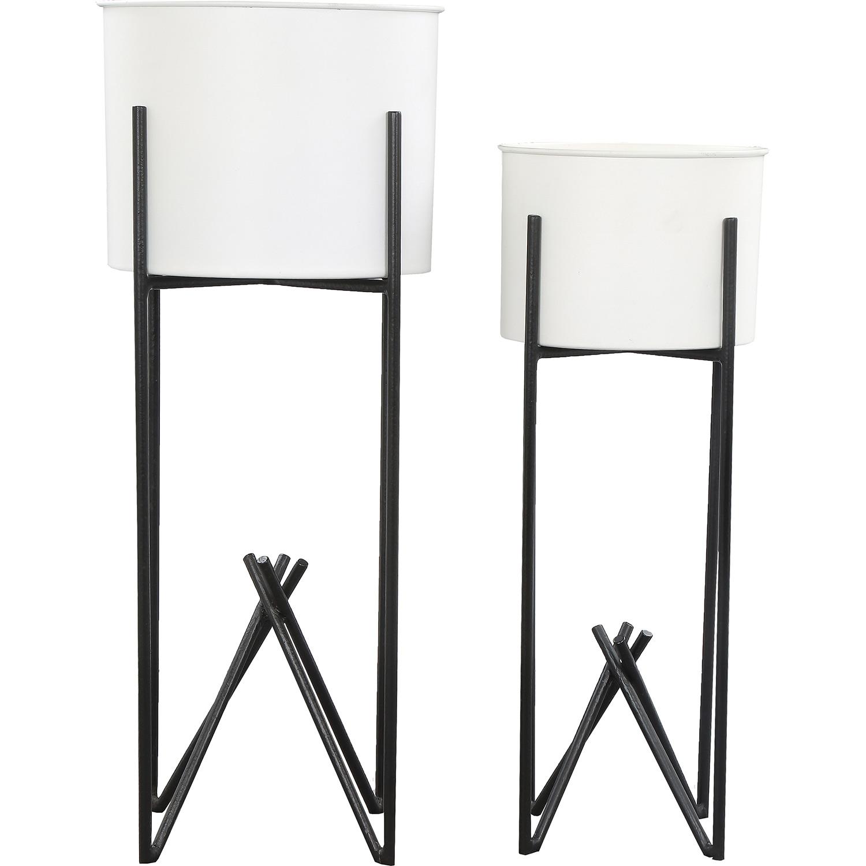 Ren-Wil Tamma Outdoor Vase - White/Black Powder Coated