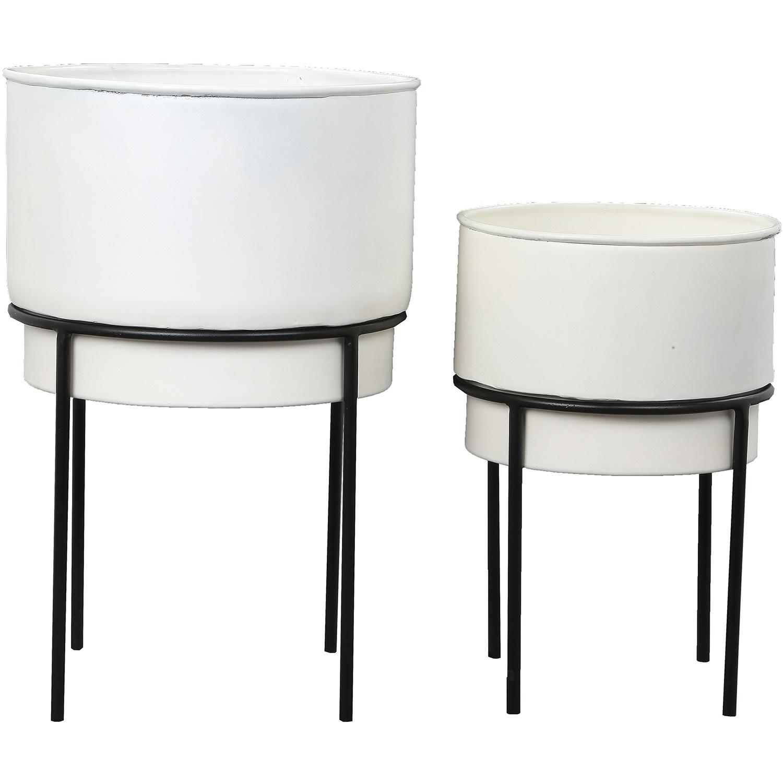 Ren-Wil Roux Outdoor Vase - White/Black Powder Coated