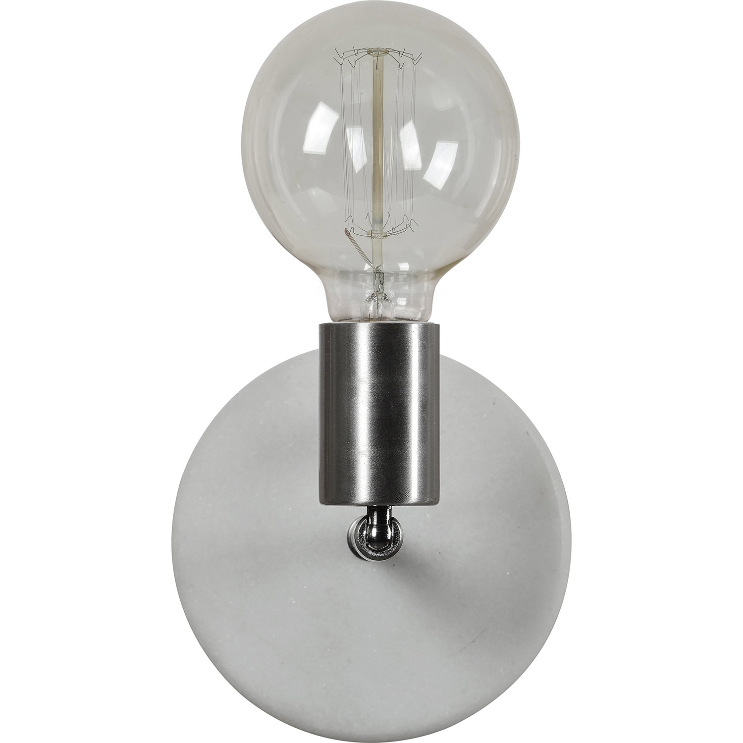 Ren-Wil Margerie Wall Sconce - Satin Nickel/White Marble