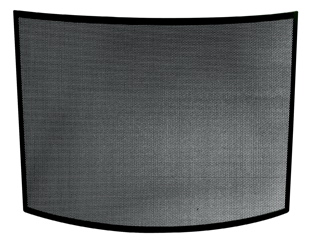 UniFlame Single Panel Curved Black Wrought Iron Screen-Uniflame