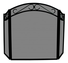 UniFlame 3 Fold Black Wrought Iron Arch Top Screen With Scrolls-Uniflame