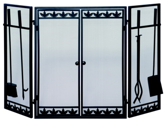 UniFlame 3 Fold Black Wrought Iron Screen W/ Filigree Doors Too