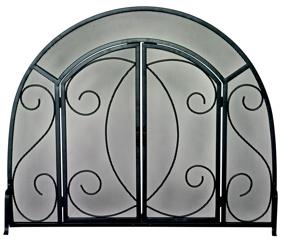 UniFlame Single Panel Black Wrought Iron Ornate Screen W/ Doors-Uniflame