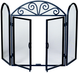 UniFlame 3 Fold Black Wrought Iron Screen With Opening Doors-Uniflame
