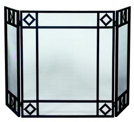 UniFlame 3 Fold Black Wrought Iron Screen With Diamond Design-Uniflame