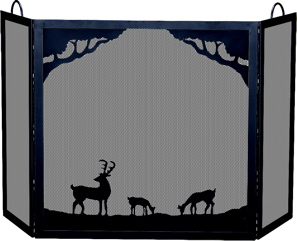UniFlame Deluxe 3-panel Black W.i. Screen With Deer In Forest Scene-Uniflame