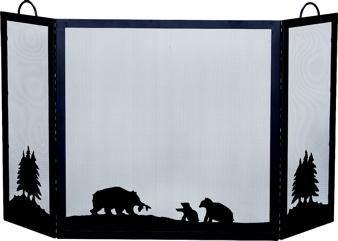 UniFlame Deluxe 3-panel Black W.i. Screen With Hunting Bear Scene-Uniflame