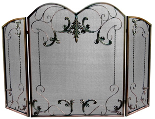 UniFlame 3 Fold Venetian Bronze Screen With Leaf Scrolls-Uniflame