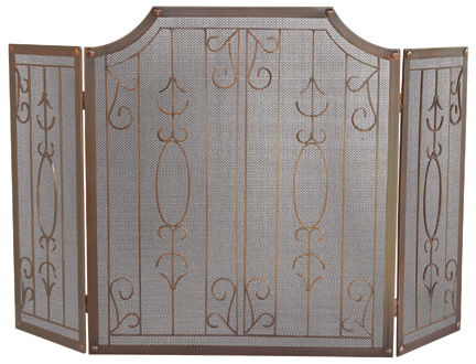 UniFlame 3 Fold Venetian Bronze Screen With Bars-Uniflame