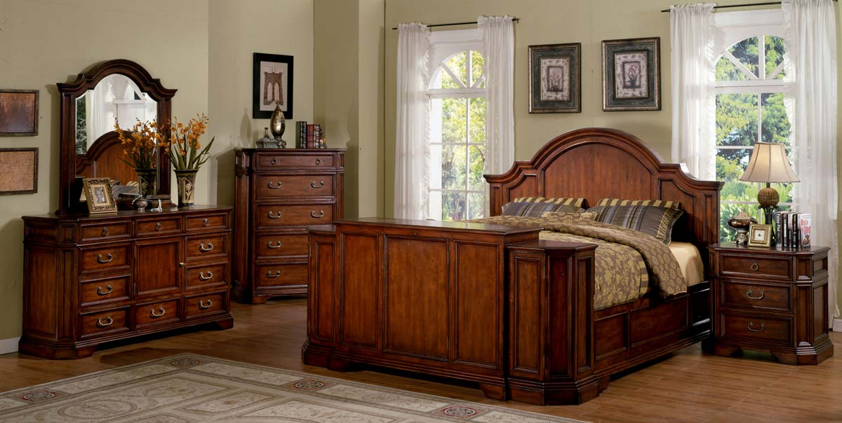 Signature Home Angela Bed With Footboard Lift - Antique Cherry