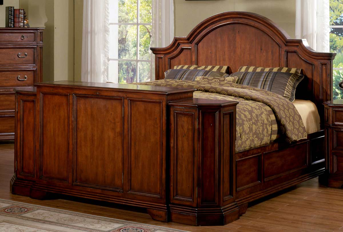 Signature Home Angela Bed With Footboard Lift   Antique Cherry