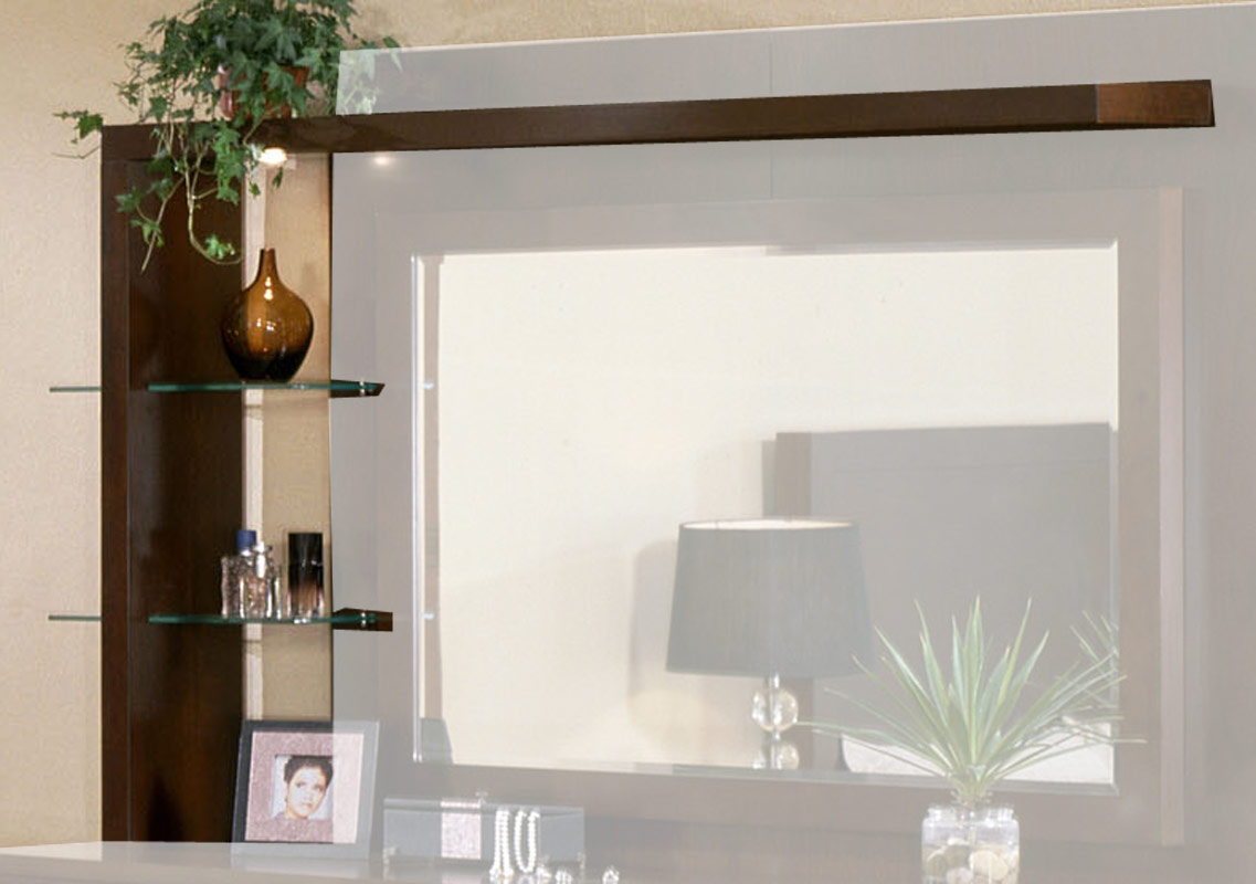 Signature Home Contempo Dresser Glass and Wood Shelves - Espresso