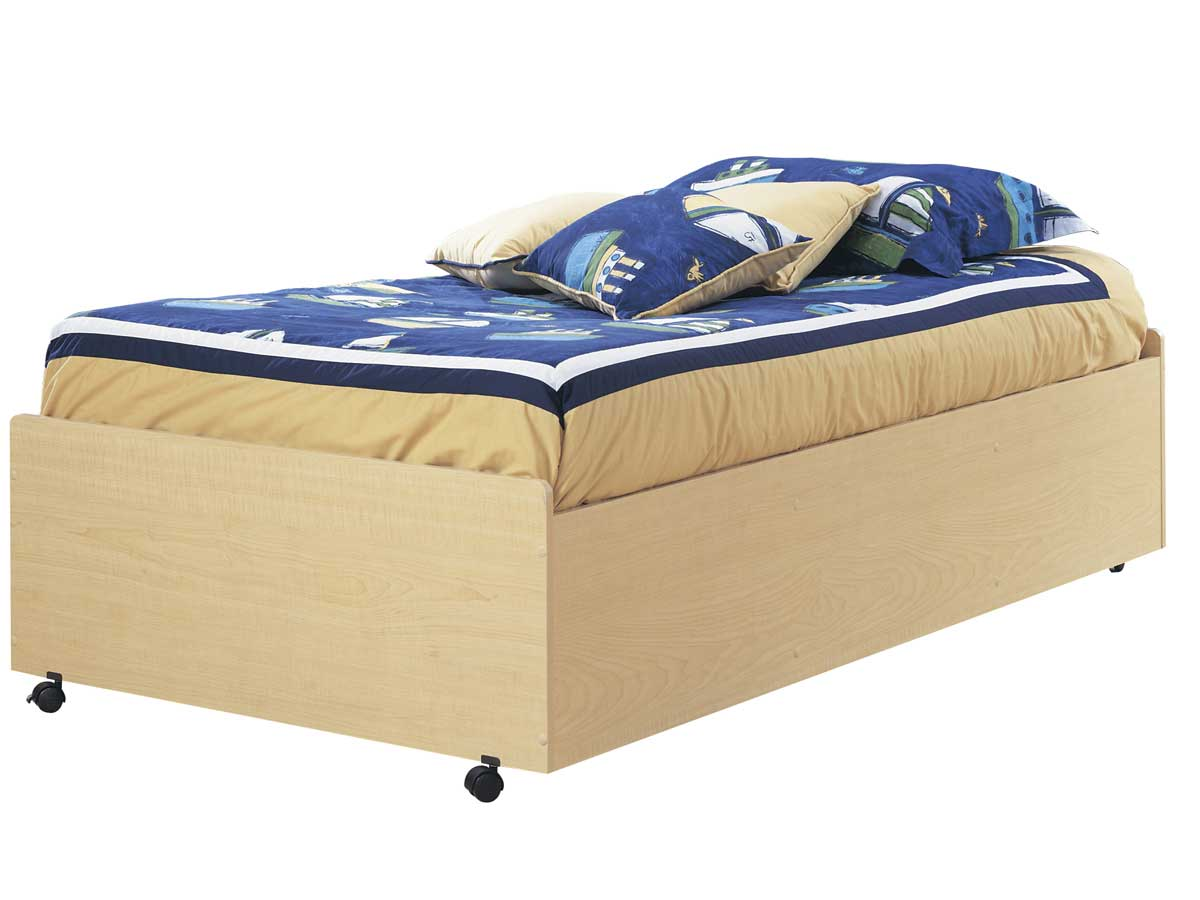 South Shore Popular Natural Maple Twin Bed On Casters