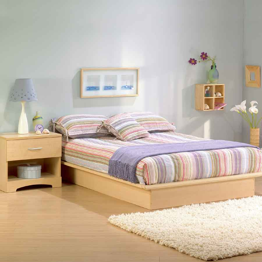 Contemporary Natural Maple Platform Bed - South Shore