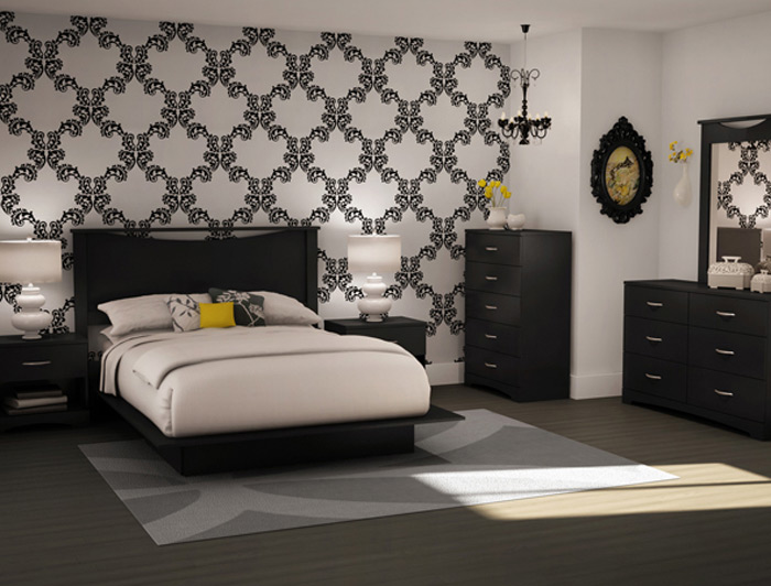 South Shore Step One Solid Black Full/queen Platform Bedroom Collection