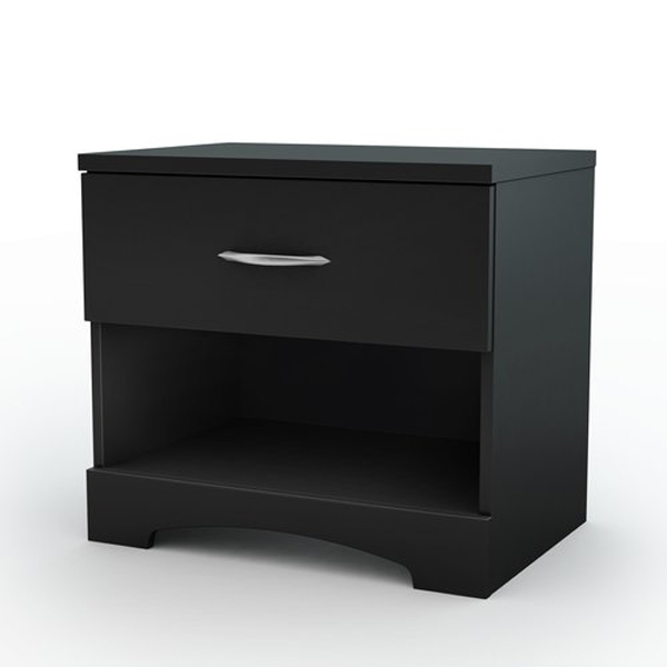 South Shore Step One Solid Black Night Stand