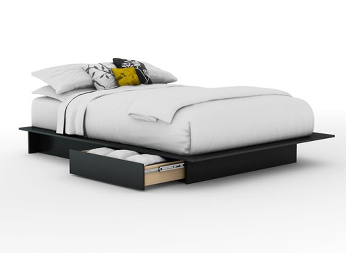 South Shore Step One Solid Black Full/queen Platform Bed