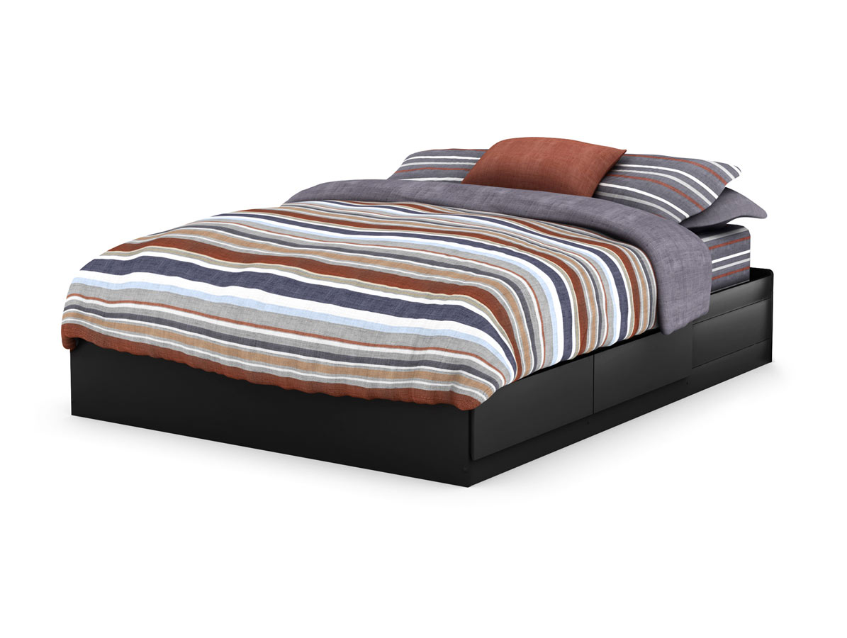 South Shore Vito Solid Black Queen Mates Bed