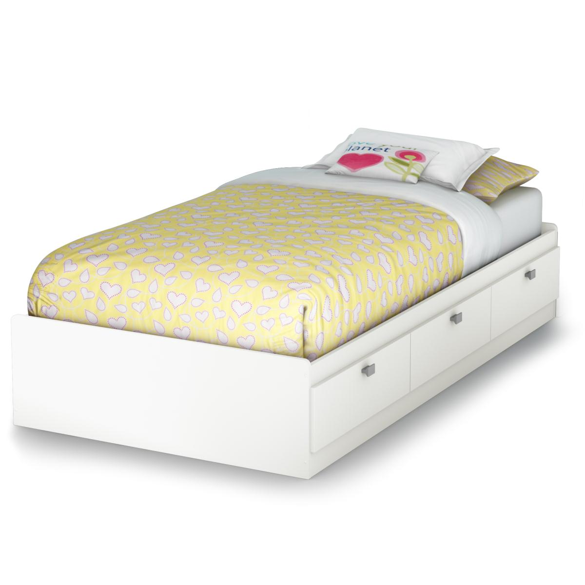 South Shore Sparkling Twin Mates Bed - Pure White