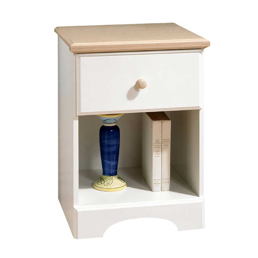 South Shore Summertime Pure White and Natural Maple Night Stand