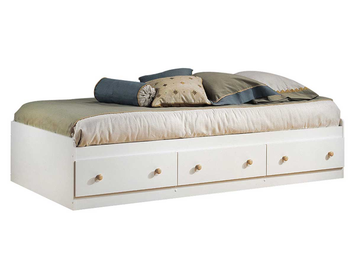 South Shore Summertime Pure White and Natural Maple Twin Mates Bed