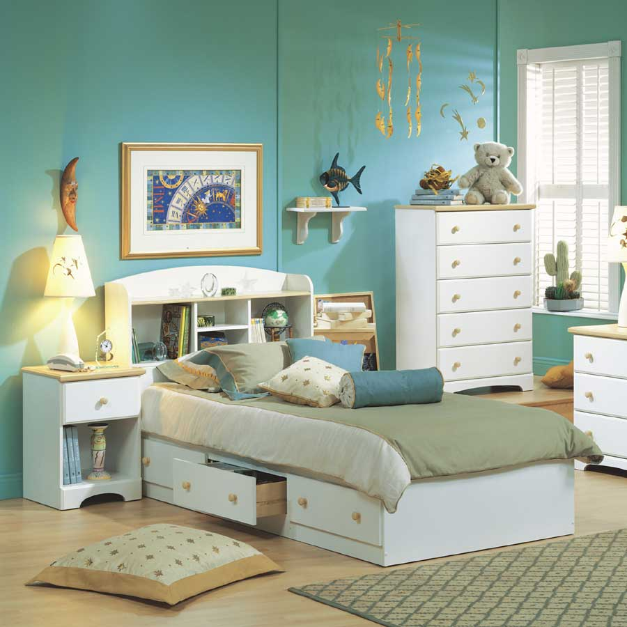 South Shore Summertime Pure White and Natural Maple 5 Drawer Chest