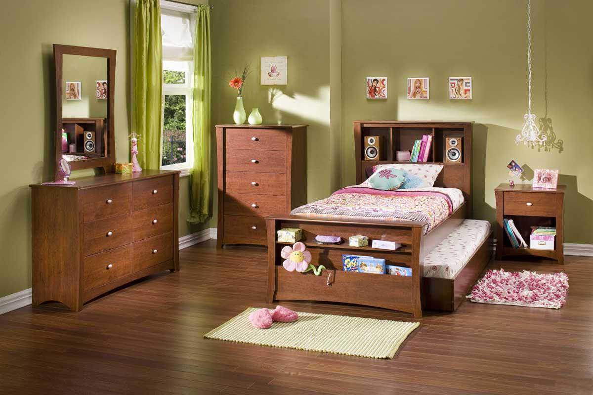 University Oak Wood Kids Twin Full Trundle Bunk Bed
