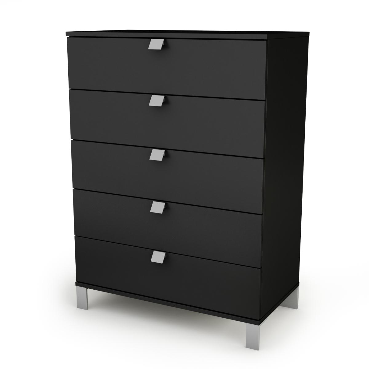 South Shore Spark 5 Drawer Chest - Pure Black